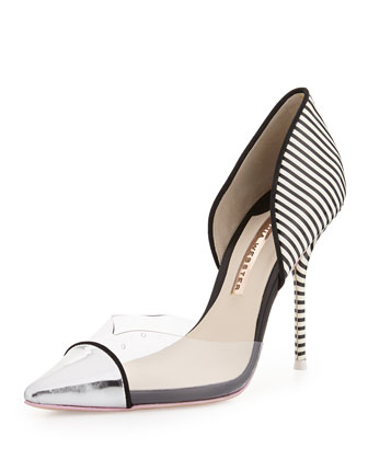 Jessica Pinstripe Mixed-Media Pump