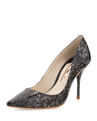 Lola Glittered Pointed-Toe Pump
