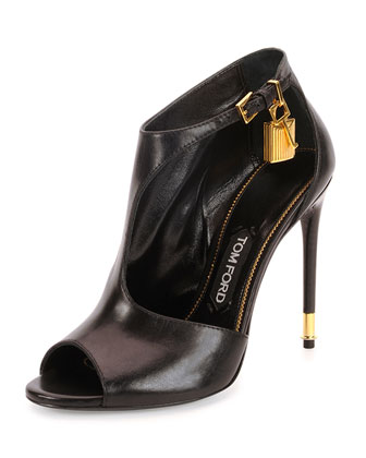 Padlock Leather Ankle-Wrap Bootie, Black