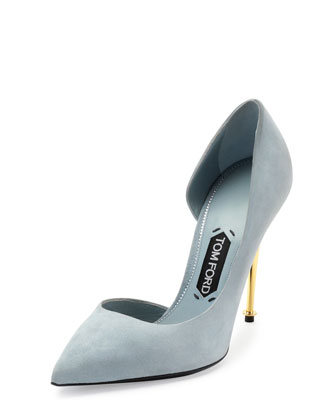 Suede Half d'Orsay Pump, Cloud Blue