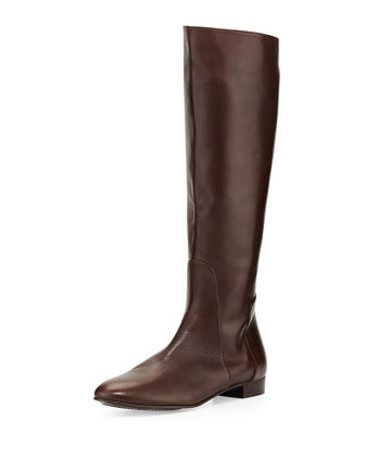 Molly Leather Knee Boot, Dark Brown