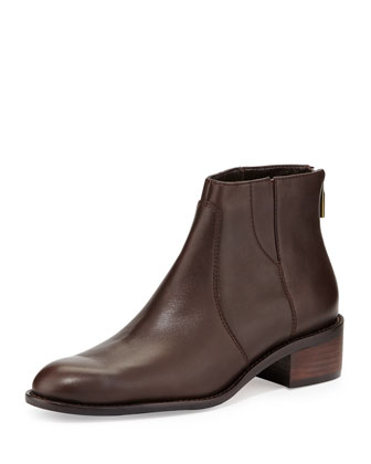 Shea Leather Flat Bootie, Brown