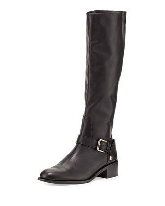 Soar Flat Leather Riding Boot, Black
