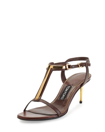 Leather T-Bar Sandal, Nude