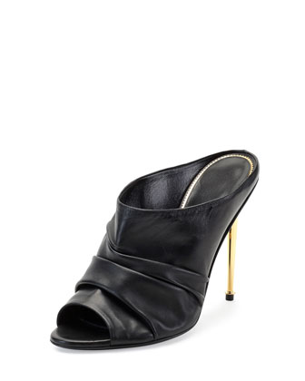 Ruched Leather High-Heel Mule, Black