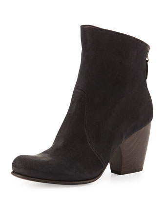 Valentine Leather Ankle Boot, Hammer Black