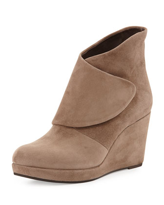 Henrietta Wedge Ankle Boot, Beige