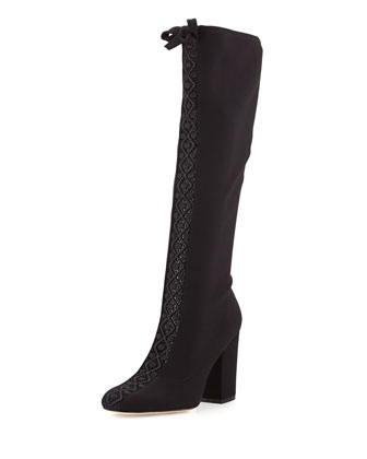 Concerto Lace-Inset Knee Boot, Black