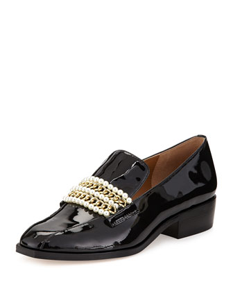 Pearl Patent Chain-Strap Loafer, Black