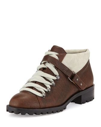 Zenith Two-Tone Lace-Up Bootie, Chocolate
