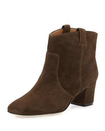 Cruiser Suede Dip-Top Ankle Bootie, Khaki