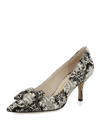 Affair Printed Bow Pump, Black/White
