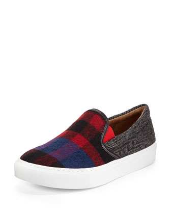 Bently Plaid Flannel Slip-On Sneaker, Navy