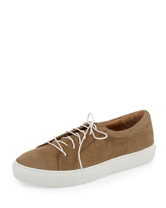 Boyfriend Leather Low-Top Lace-Up Sneaker, Taupe
