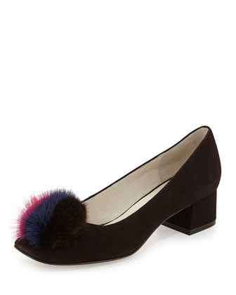 Whisper Suede Pump with Fur Pouf, Brown