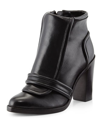 Margaret Leather Ankle Bootie, Black