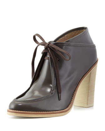 Madeline Leather Lace-Up Bootie, Graphite