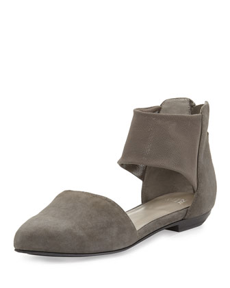 Allot Suede d'Orsay Flat, Ash