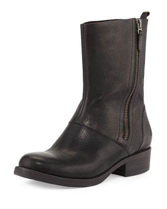 Alfa Leather Mid-Calf Boot, Black