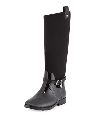 Charm Stretch Rain Boot, Black