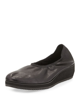 Mellow Leather Slip-On Flat, Black