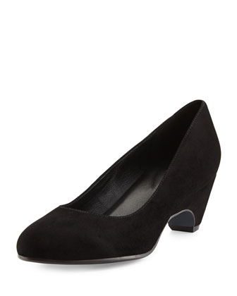 Comma Suede Wedge Pump, Black