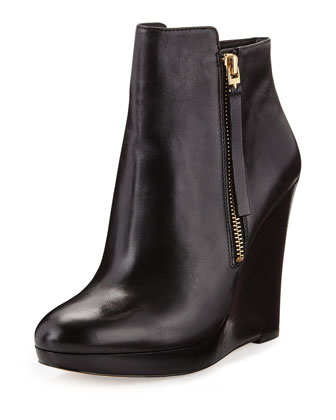 Clara Leather Wedge Bootie, Black