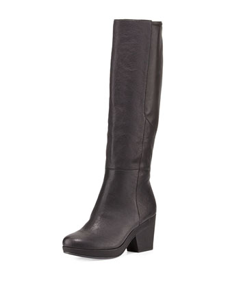 Ivy Leather Knee Boot, Black