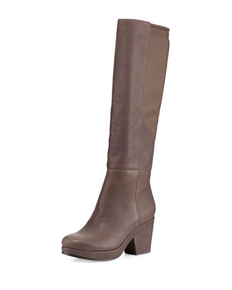 Ivy Leather Knee Boot, Elephant