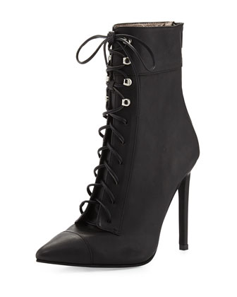 Elphaba Grainy Leather Lace-Up Bootie, Black