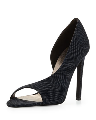 Bellini Pebbled Leather d'Orsay, Dark Blue