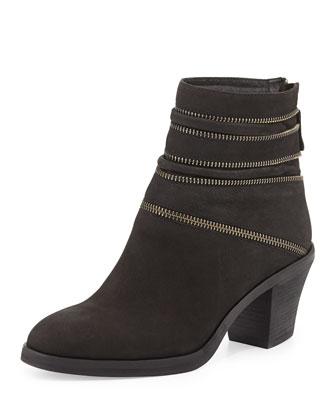 Crown Zip-Trimmed Ankle Bootie, Black