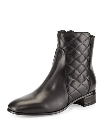 Latifa Quilted Ankle Boot, Black