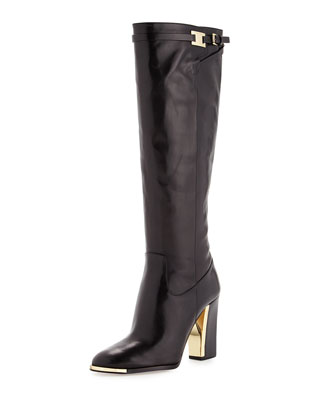 Julie Leather Knee Boot, Black