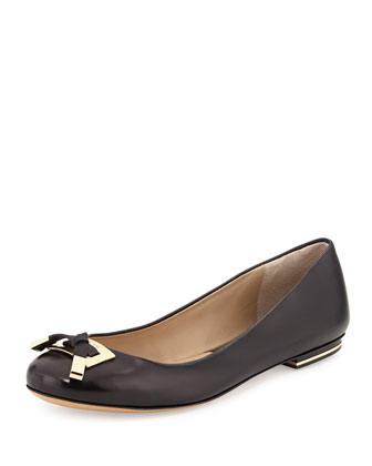 Pearl Leather Ballerina Flat, Black