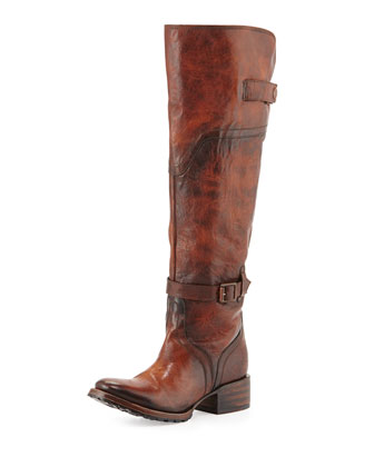 Quebec Leather Equestrian Boot, Cognac