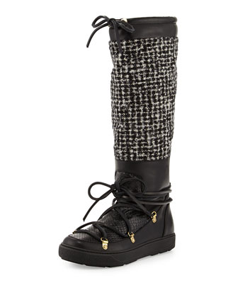 Isabelle Python & Tweed Knee Boot, Black