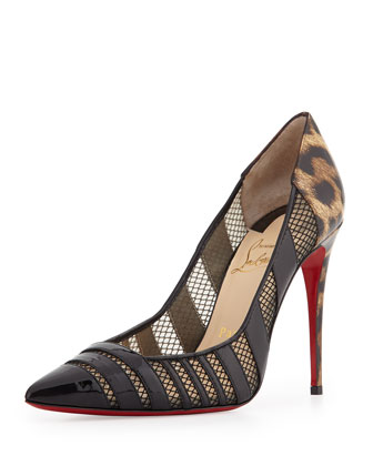Bandy Mesh Stripe Red Sole Pump, Leopard