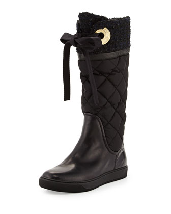 Judith Tweed-Cuff Quilted Boot, Black/Blue