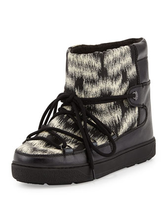 Fanny Printed Snow Ankle Boot with Fur Lining, Black