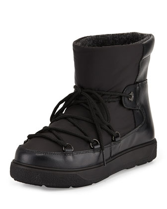 Fanny Printed Snow Ankle Boot, Black