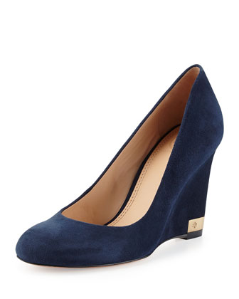 Astoria Suede Wedge Pump, Navy