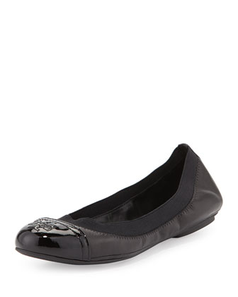 Gabby Cap-Toe Scrunch Flat, Black