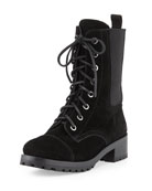 Broome Suede Combat Boot, Black