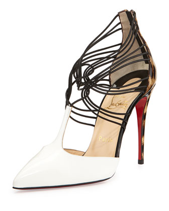 Confusa T-Strap Leather Red Sole Pump, White/Black