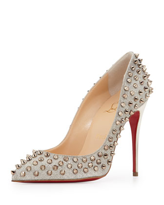 Follies Spike-Studded Glitter Red Sole Pump, Colombre