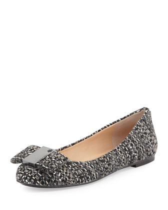 Chase Tweed Bow Ballerina Flat, Black
