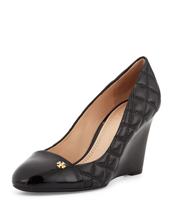 Claremont Quilted Wedge Pump, Black