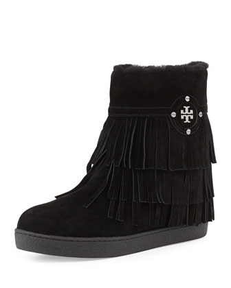 Collins Shearling-Lined Fringe Bootie, Black