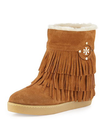 Collins Shearling-Lined Fringe Bootie, Havana Tan